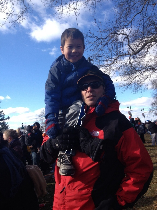 Sebastian up on my shoulder.