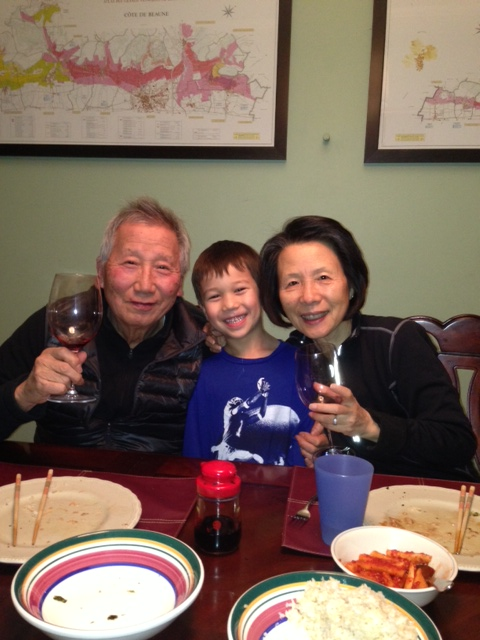 My father-in-law, mother-in-law (who rarely drinks wine, but liked both of these) and Sebastian (who has to be in every photo).