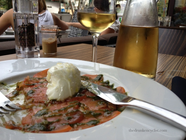 A little salmon carpaccio with a very large carafe of Chardonnay.