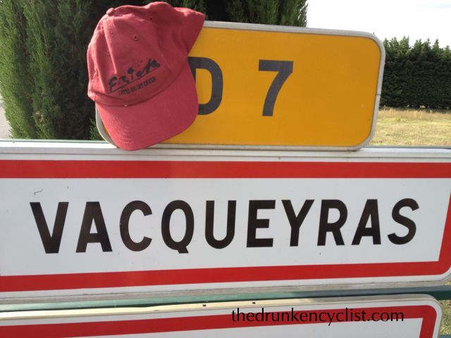 The week started with driving the van from Avignon (sorry, no pictures) up the Rhône to pick up some bikes in Sablet. I stopped, of course, in the wine town of Vacqueryas and proudly displayed my Frick Winery hat.