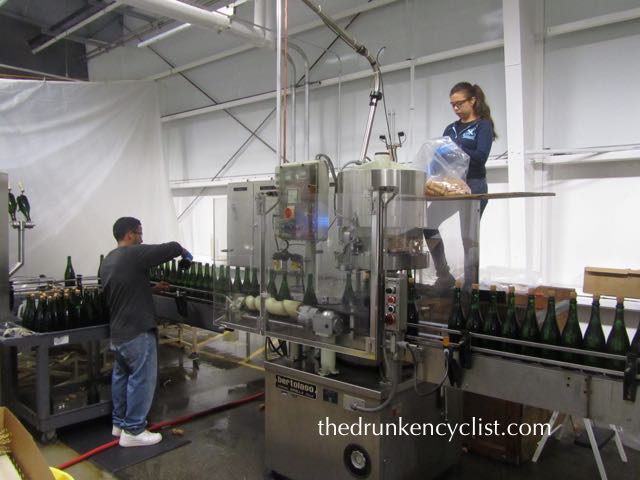 We then walked the length of the bottling line—Sharon made me swear not to divulge whose wine they were bottling at the time!