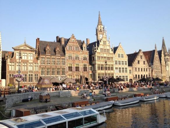 A host of bars and restaurants along the river in Gent.