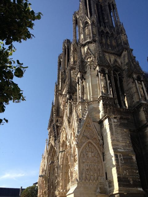 Reims cathedral in the late afternoon.