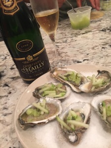 '99 Mailly Grand Cru. Oysters with green apple ginger granita. Granny Smith Thai basil mignonette.