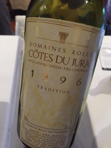 One of the best wines I have had in a while: a 50% Chardonnay/50% Savagnin from Domaine Rolet in the Jura.