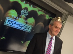 Things got a little crazy during the walk-around tasting with Régis donning the tiara from the bottle of Piper-Heidsieck Rare.