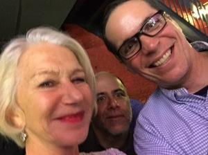 "So I did what anyone would do when they see Helen Mirren: Take a selfie… (that is Gabe ""The Wine Pimp"" Sasso photo bombing)."