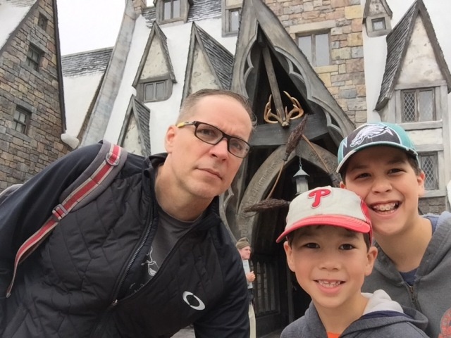 The Three Broomstick Restaurant in Hogsmeade. Man, Sebastian needs to grow!