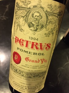 The wrinkled label and the less than overwhelming wine, gave me cause to ponder whether this was indeed a Pétrus (but my wife threw away the cork).