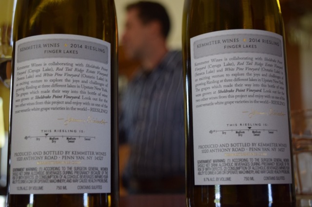 The back labels of the Sheldrake Point wines.