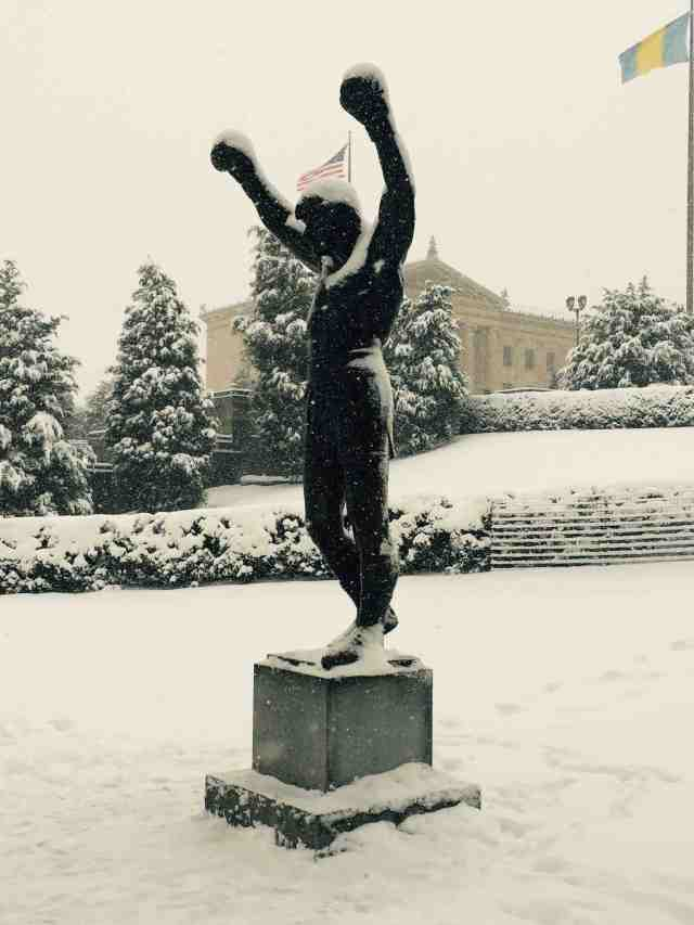 Will miss the Art Museum (background), and even the Rocky statue, but won't miss the snow.