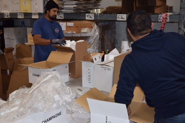 These guys are packing up the orders. They do it pretty much all day long.