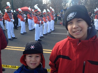 The Thanksgiving Day parade: In what had become a tradition, the boys and I would take the five minute walk down to the Ben Franklin Parkway and watch the parade with hundreds of our best friends from Southern Jersey.