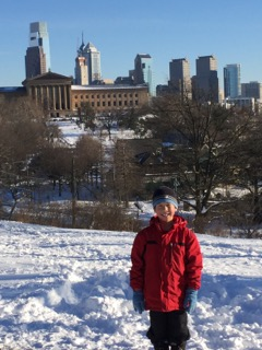 Sledding in Fairmount Park.