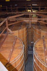The large oak casks just off the tasting room.