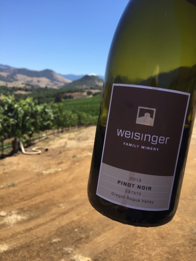 Drinking a wonderful Weisinger Pinot Noir in the vineyard in Southern Oregon at 10 a.m.