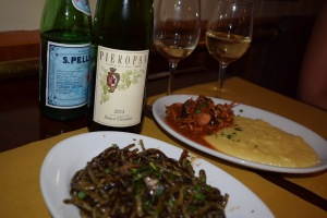 Pieropan Soave with squid ink pasta. Whoa.