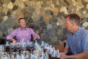 Robert Larsen, Bill Batchelor (right), and a whole host of wine glasses.