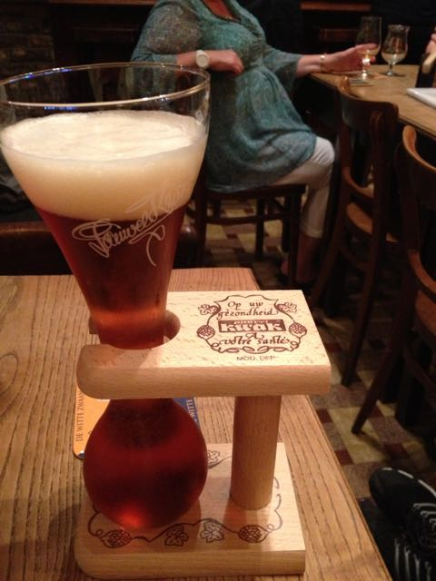 Kwak beer with the requisite stand.