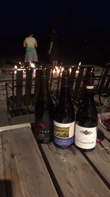 Plenty of wine by the fire at Brooks.